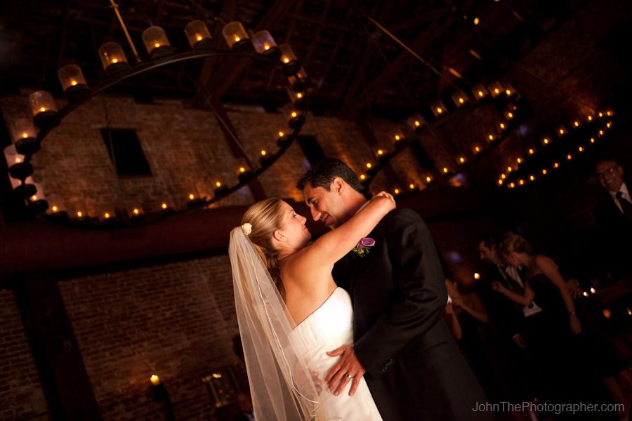 Camille and Radu dance in the barrel room during their wedding at the Vintage Inn in Yountville, CA.